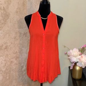 Maeve ANTHRO | Red/Orange Sleeveless Button Up Top